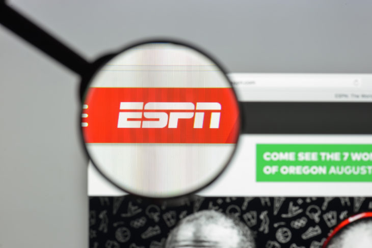Milan, Italy - August 10, 2017: Espn website homepage. It is a U.S.-based global cable and satellite sports television channel. Espn logo visible. - Image